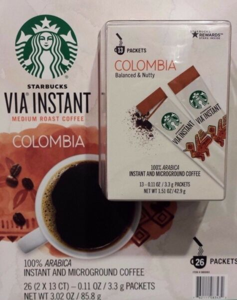 10 BOXES=130 PACKS STARBUCKS VIA INSTANT COFFEE MED ROAST COLUMBIA BEST 071019