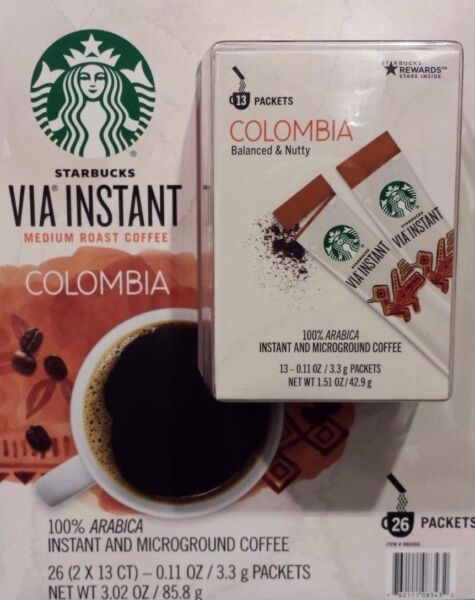 10 BOXES=130 PACKS STARBUCKS VIA INSTANT COFFEE MED ROAST COLUMBIA BEST 102318