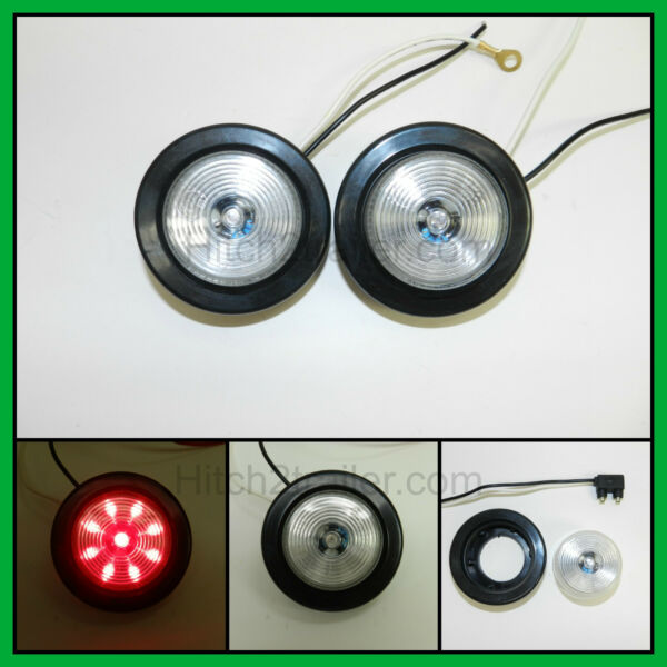 2 CLEAR RED 9 LED Light Trailer 2quot; roundw 2 plugGrommet Clearance 2.0quot; $10.99