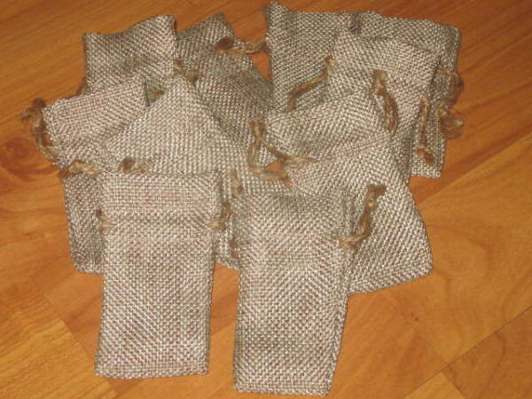 LOT OF 10 Linen Burlap Style Drawstring Pouch Wedding Party Favor Bags 1X3 2X3