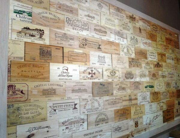 24 Assorted BRANDED WINE PANELS.  CRATE Box SIDE End Tops  Wood Diff. Sizes