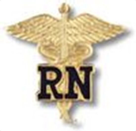 RN REGISTERED NURSE CADUCEUS EMBLEM MEDICAL UNIFORM COLLAR FIRE HEALTH BADGE PIN