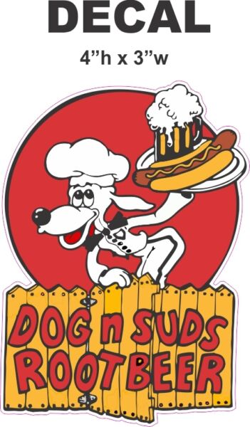 Vintage Style Dog and Suds Root Beer Soda Vinyl Decal $4.99