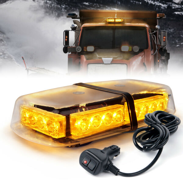 Xprite 24 LED Emergency Warning Rooftop Strobe Light with Magnetic Amber Yellow