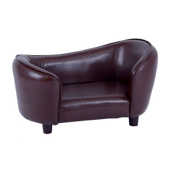 Luxury Brown PU Leather Pet bed Dog Sofa couch toy Cat Chaise Seat 12198 $86.66