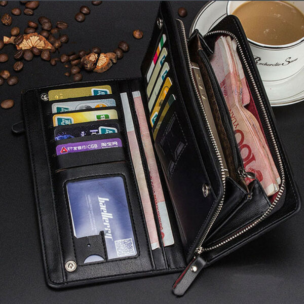 Men's Business Leather Long Wallet Card Holder Checkbook Purse Large Capacity