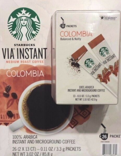 16 BOXES=208 PACKS STARBUCKS VIA INSTANT COFFEE MED ROAST COLUMBIA BEST 071019