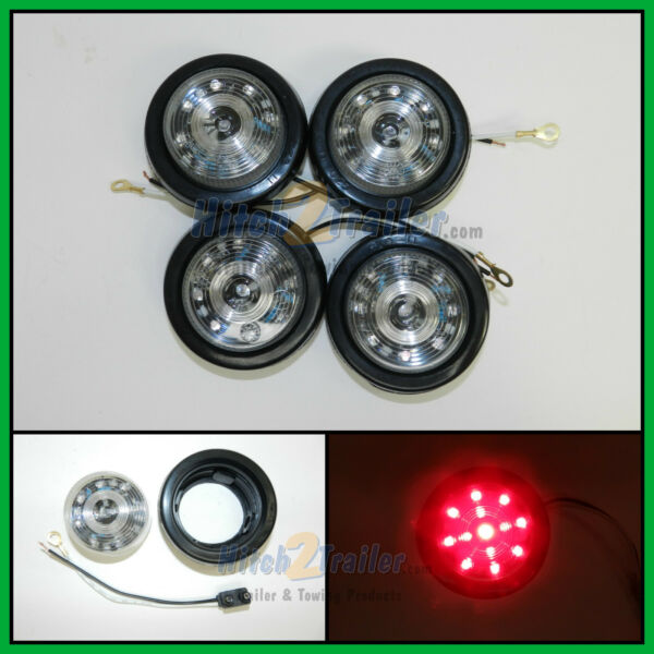 4 CLEAR LENS RED 13 LED Light Trailer 2 1 2quot; roundClearance marker 2.5quot; $26.99