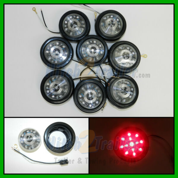 8 CLEAR LENS RED 13 LED Light Trailer 2 1 2quot; roundClearance marker 2.5quot; $49.99