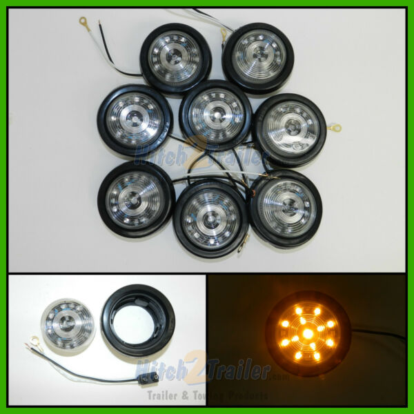 8 CLEAR LENS AMBER 13 LED Light Trailer 2 1 2quot; roundClearance marker 2.5quot; $49.99