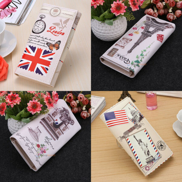 Women Men Vintage Wallet Long Clutch ID Credit Card Holder Leather Purse Handbag