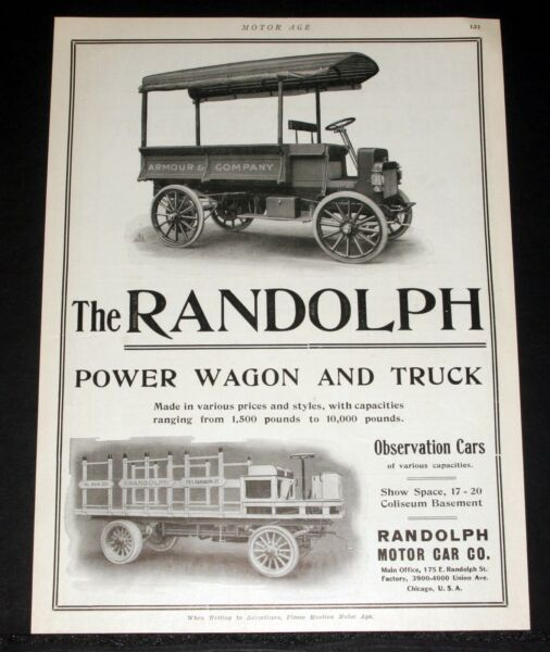 1909 OLD MAGAZINE PRINT AD, THE RANDOLPH POWER WAGON & TRUCK, OBSERVATION CARS!