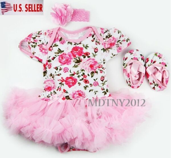 3PCS Newborn Baby Girl Outfits Clothes Romper tutu Dress Jumpsuit Bodysuit Set