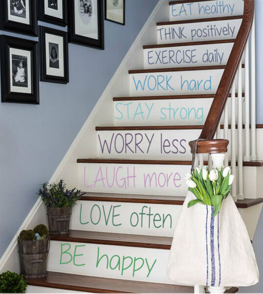 Wall Decal Quote Family Vinyl Stickers Stairs Design Stairway Decor Art kk482