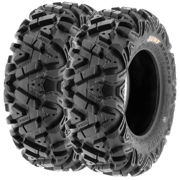 Pair of 2 25x8-12 25x8x12 ATV UTV SxS All Terrain 6 Ply Tires A033 by SunF