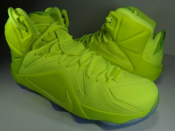 Nike Lebron XII 12 EXT Tennis Ball Volt Black SP SZ 8.5 Womens 10 (748861-700)