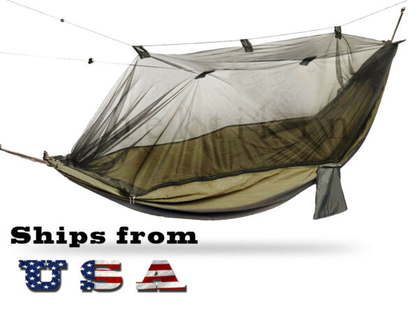 Portable Double Hammock with Mosquito Net for Outdoor Camping Traveling Large $27.99