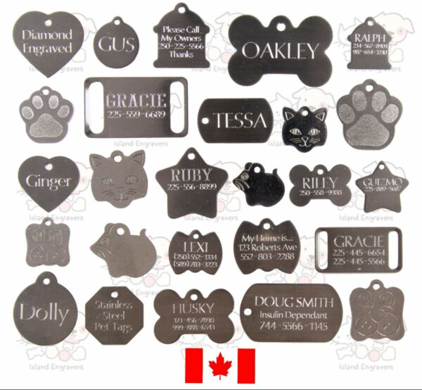 STAINLESS DOG CAT PET TAGS CHARM CUSTOM ID DIAMOND ENGRAVED BOTH SIDES C $1.99