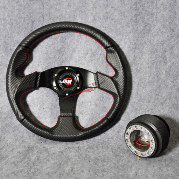 Fits 32CM Steering Wheel PVC Leather JDM Carbon Red Stitch 6 Bolt Hub Adapter