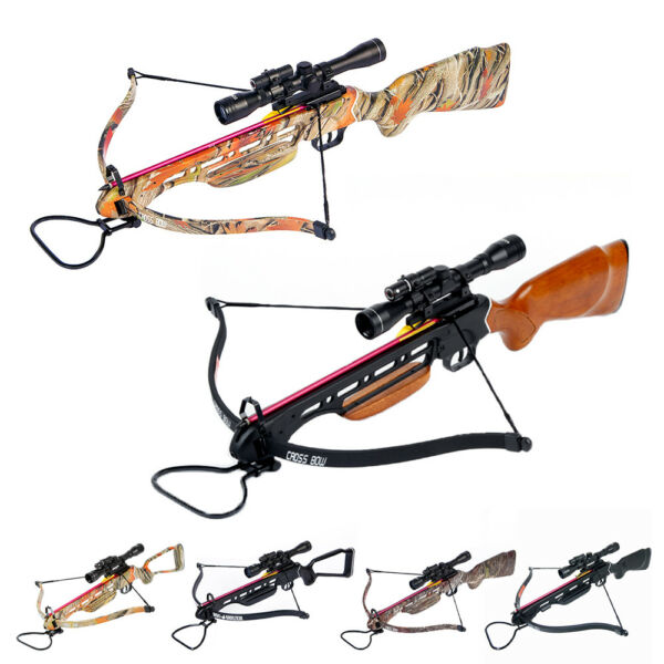 150 lb Black Wood Camo Hunting Crossbow Bow 4x20 Scope 7 Arrows 180 80 50