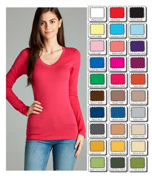 Womens T Shirt V Neck Long Sleeve Cotton Active Basic Layering Size SML USA