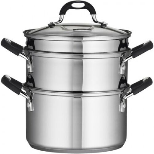 4-Piece 3-Quart Tramontina 1810 Stainless Steel SteamerDouble-Boiler Silver