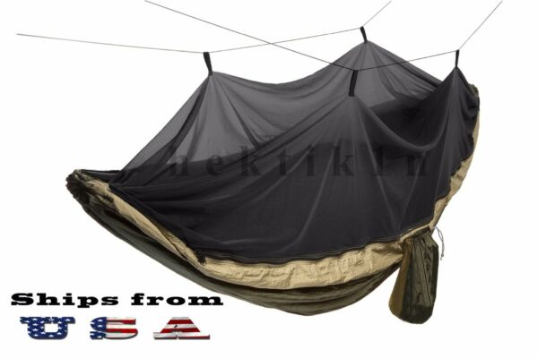 Double Outdoor Parachute Nylon Hammock with Mosquito Net Large $26.99