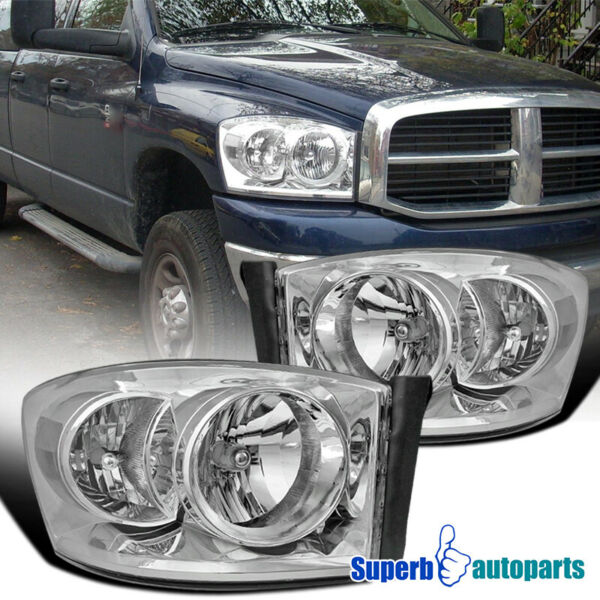 For 2006-2008 Dodge Ram Headlight Head Lamps Replacement Pair