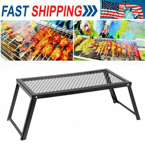 Camp Fire Grill Grate Cooking Outdoor BBQ Steel Pit Camping Open Fire H5W1