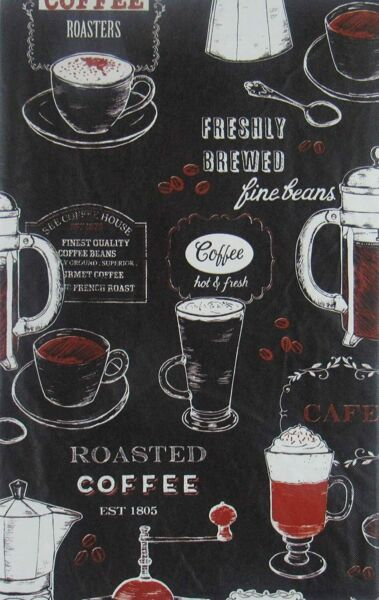 Coffee Roasters Flannel Back Vinyl Tablecloths Asst. Sizes Sq.Oblong amp; Rd.