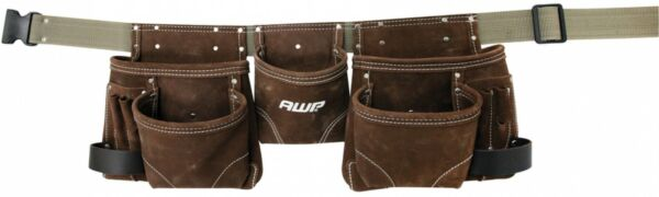 Tool Belt Construction Carpenter Electrician Suede Leather Pockets Brown Apron
