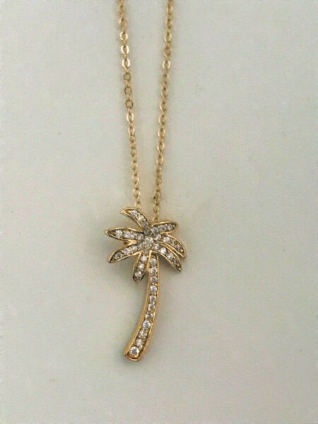 Palm Tree Necklace Pendant with Cubic Zirconia 20quot; Chain 24k Yellow Gold Plated