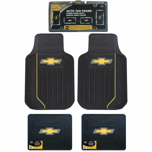 New Chevy Elite Car Truck Front Back Floor Mats / Chrome License Plate Frame