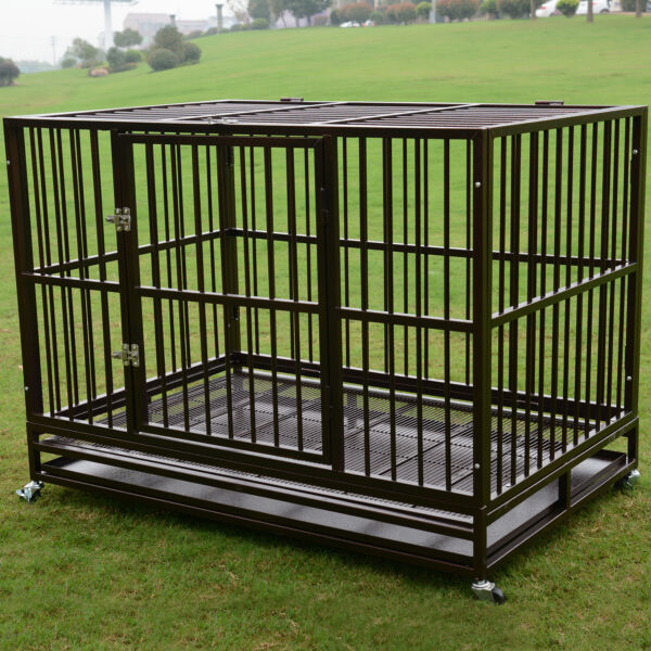 3XL 48quot; Dog Crate Kennel Heavy Duty Pet Cage Playpen w Metal Tray Exercise Pan $219.99