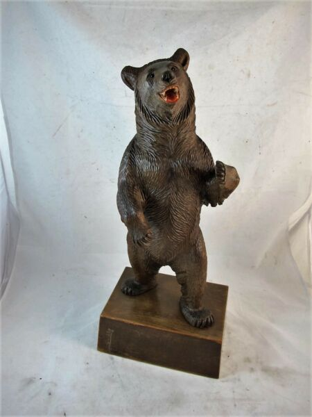 BLACK FOREST CARVED BEAR SWISS MADE WITH ORIGINAL LABELC1920'S