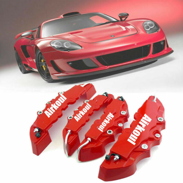 4pc Car Disc Brake Caliper Covers Front amp; Rear Kit 3D Style Red Universal