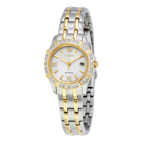 Citizen Eco-Drive Women's Diamond Accents Two Tone 26mm Watch EW2364-50A