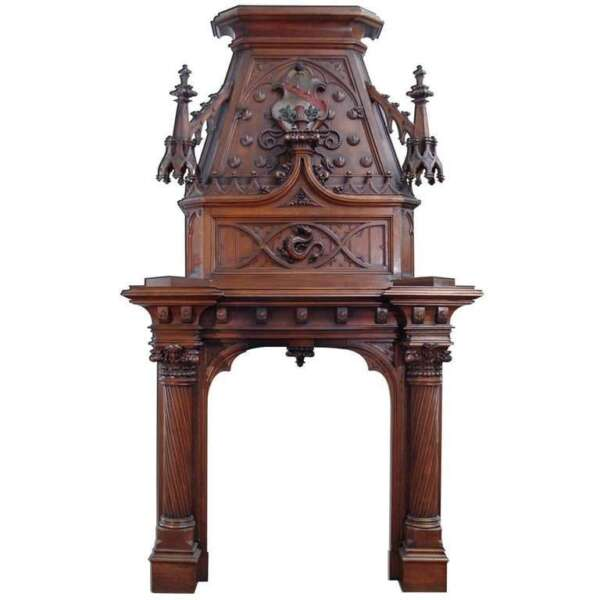 A Scottish Gothic Style Carved Walnut & Polychrome Decorated FireplaceMantel