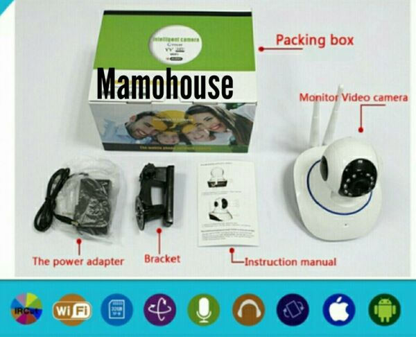 TELECAMERA IP CAMERA HD 720P WIRELESS LED IR LAN APPLICAZIONE ANDROID E APPLE