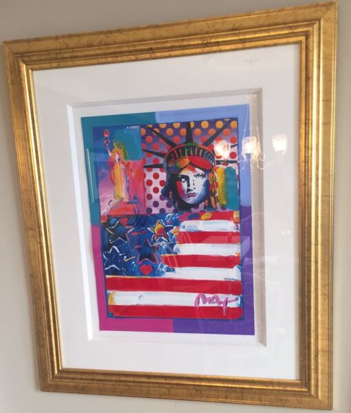 Peter Max God Bless America II Mixed Media Signed in Pigment