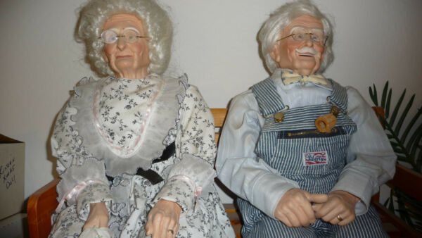Porcelain Grandma and Grandpa Dolls-finest collector quality you will ever see!!