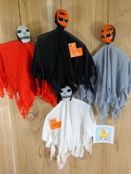 HALLOWEEN Hanging Decoration Set of 4 FLOATING SKULL GHOSTS 14