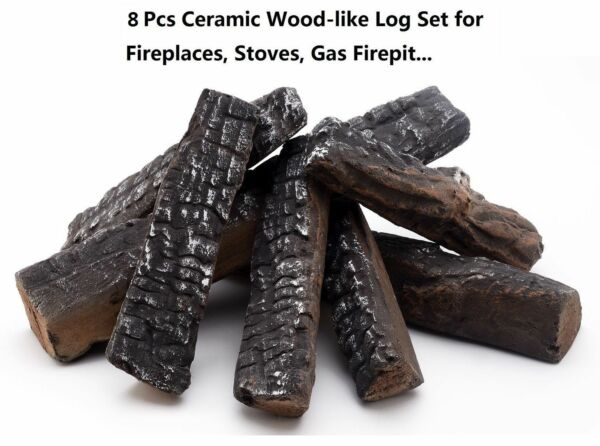 8 Piece Wood-like Ceramic Logs for Gas Ethanol Fireplaces & Stoves & Gas firepit
