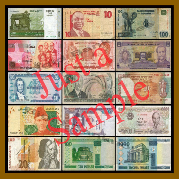 15 Pcs of Different World Mix (Mixed) Foreign Banknotes Currency Lot, Cir