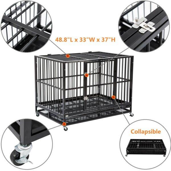 48quot; Heavy Duty Dog Cage Crate Kennel Metal Pet Playpen Portable w Tray New