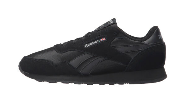 Reebok Men Unisex Royal Nylon Suede Material Classic Shoes All Black Sneakers