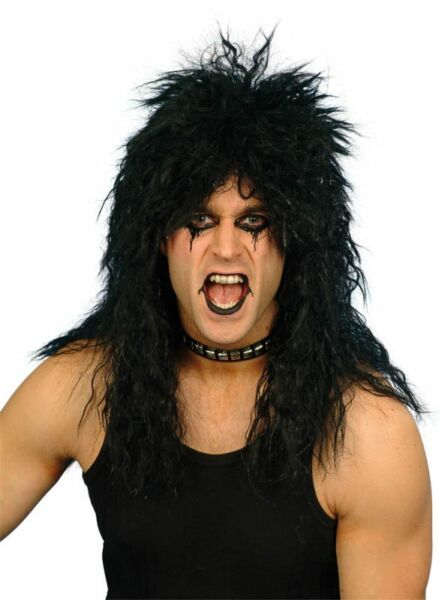 Mens Long Black Rocker Wig Rock and Roll Hair Costume Punk Wavy Curly Adult NEW