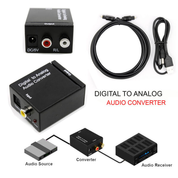 Digital Optical Coaxial Toslink Signal to Analog Converter Audio Adapter RCA L/R