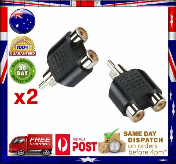 2x RCA Y Splitter AV Audio Video Plug Converter 1 Male to 2 Female Cable Adapter
