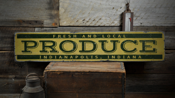 Produce Custom Location Name City - Rustic Distressed Wood Sign ENS1001395